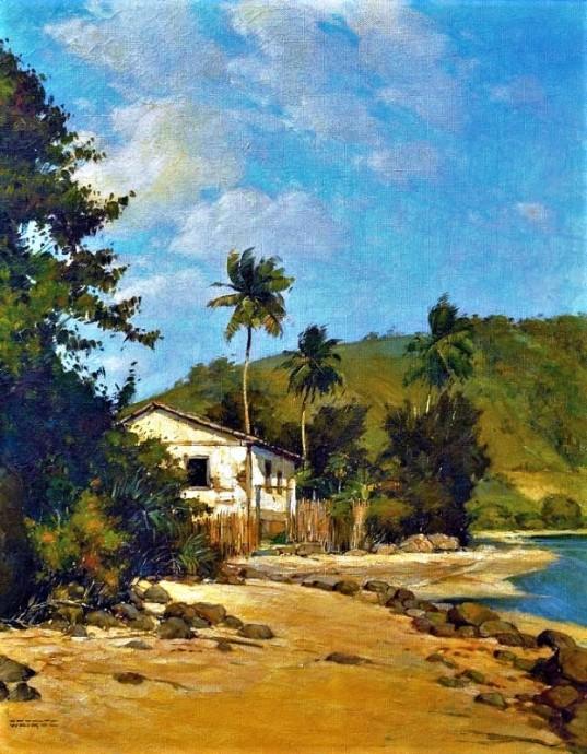 RODOLFO WEIGEL (1907-1987) - Casario na Praia do Retiro - Angra dos Reis, ost, 47 X 37 Assinado no c.i.e. (década de 40)