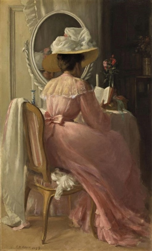 """A Lady in Pink"""" (1899) by Patrick William Adam (1854-1929). """""""