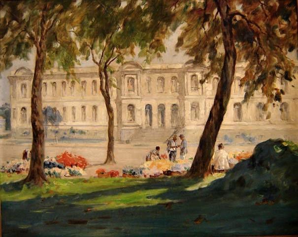 Campão, José Marques (1892-1949)Colégio Caetano de Campos(1948)Óleo sobre madeira,75 x 95 cm
