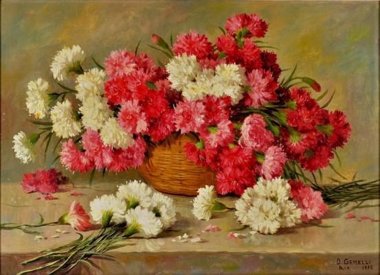 D. GEMELLI - Cesto com flores, óleo sobre tela, 54 x 73 cm. Assinado no canto inferior direito, Rio 1955,