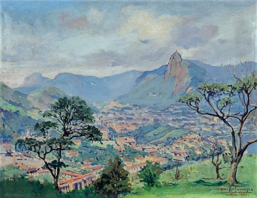 DAKIR PARREIRAS,Catumbi,óleo smadeira, 1941, sit. Rio inf. dir. 32 x 41 cm