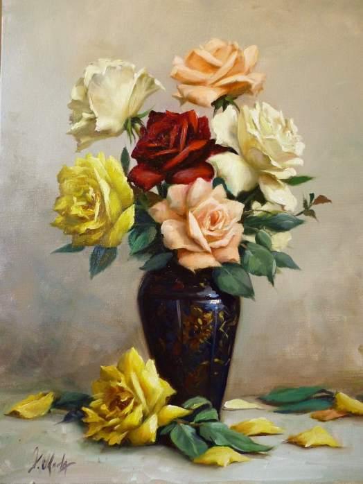 Douglas Okada (Brasil), Rosas, 2012, ost, 50 x 70 cm