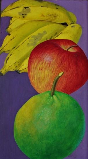 GLAUCO RODRIGUES (1929 - 2004) Frutas, o.s.e., 58,5 X 32 cm, assinado e datado (1968) no c.i.d. e no verso
