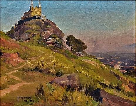 MARIO PACHECO. Paisagem, óleo s tela. 32 x 40. datado (1952) e localizado (Rio