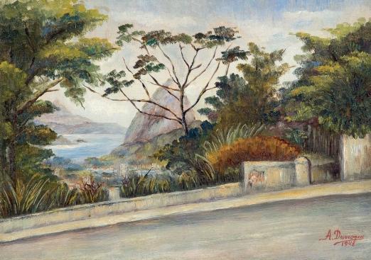 A. DURROGUE,Pão de Açúcar Visto de Santa Teresa,óleo s madeira, 1948,24 x 34 cm
