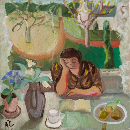 Anthea Craigmyle (GB, 1933-2016) Alison lendo à janela, osplaca, 15 x 15 cm