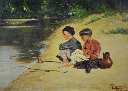 ANTONIO FERRIGNO - (1863 - 1940) Meninos pescando - osm - 20 x 28 - cid - São Paulo