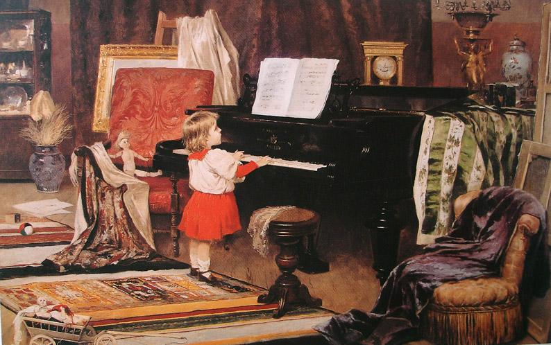 AURÉLIO DE FIGUEIREDO - Menina ao piano - Óleo sobre tela - 60 x 90 - Coleção Fadel