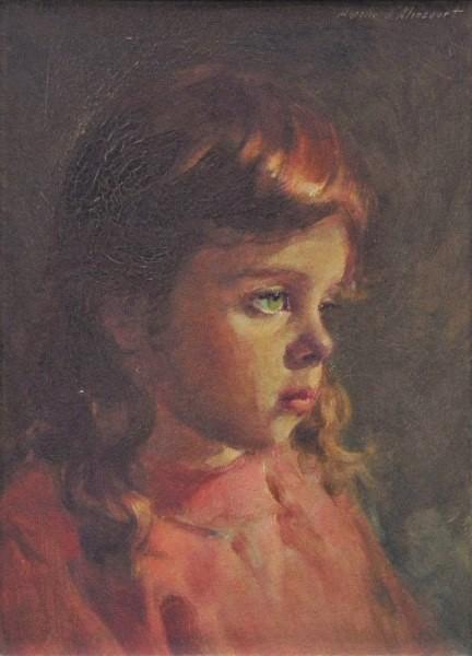AURELIO D'ALLINCOURT (1919-1990)Tati com Vestido Vermelho, óleo s eucatex, 32 X 24. Assinado no c.s.d.