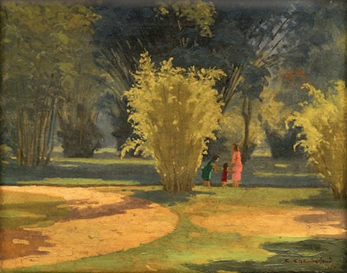 CARLOS CHAMBELLAND (1884 - 1950)Jardim Botânico Óleo s tela 33 x 41 cm -Rio 1949.