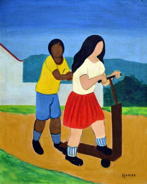 Djanira - Crianças e Patinete, óleo sobre tela, medindo 46 x 38 cm, assinado no C.I.D., consta no verso etiqueta da Galeria Continental de 1972.
