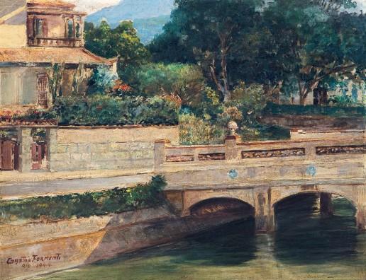 GASTÃO FORMENTI,Ponte do Jardim Pernambuco,óleo s madeira, ass., dat. 1944 e sit. Rio inf. esq.27 x 35 cm
