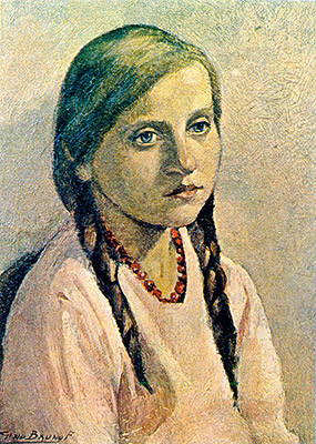 Gino Bruno, Menina, 1932, ost,41 x 30 cm Col. Part