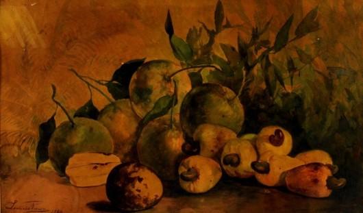 LEÔNCIO VIEIRA da Costa (1852 - 1881) Frutos, aquarela – Ass e dat. 1880.