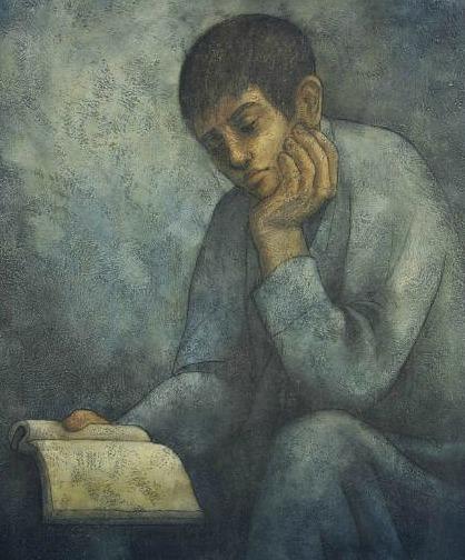 Louay Kayyali (Syrian, 1934-1978), Menino lendo, 1969, ost, 95 x 75cm