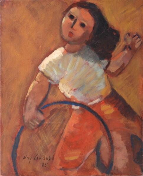 NEY CARDOSO - Menina e bambolê óleo sobre tela 27 x 22 cm. Assinado e datado no canto inferior esquerdo, 1985.