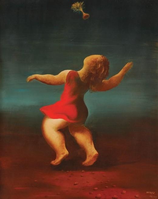 Orlando Teruz, Menina jogando peteca, 1972, ost, 93x74cm