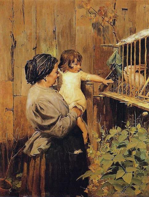 Oscar_Pereira_da_Silva_-_1895_-_Criação_da_Vovó, ost, 122 × 94 cm, PESP