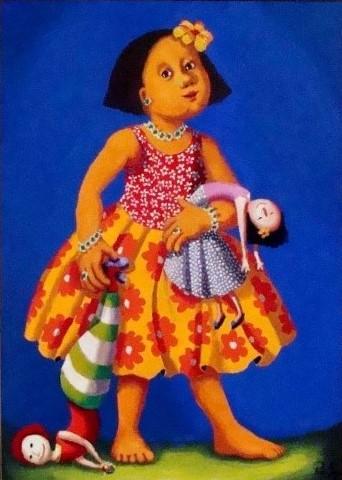Pedro Souza (Brasil, 1947)Menina com boneca, oleo sobre tela 50x70cm com moldura.