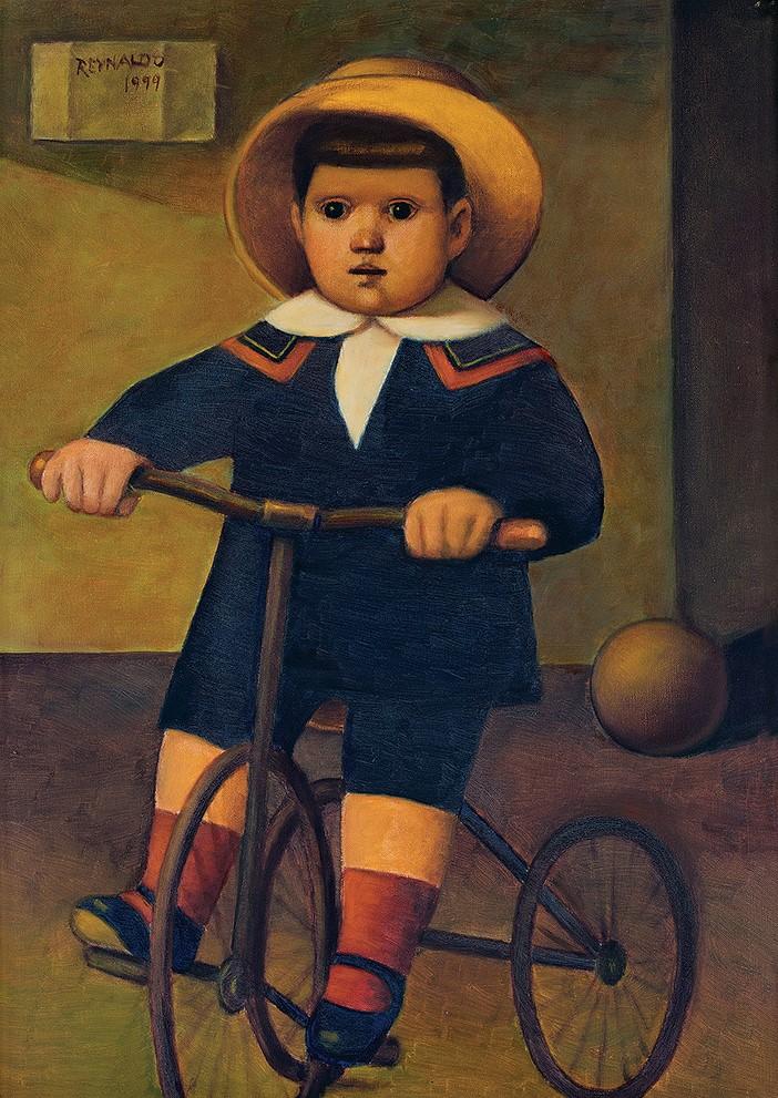 Reynaldo Fonseca (Brasil, 1925) Criança brincando,Óleo sobre tela,70 x 50 cm