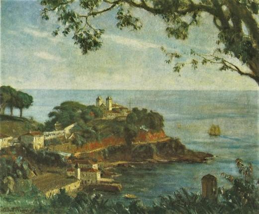 Alberto VAlença, SANTO ANTÔNIO DA BARRA Óleo sobre tela, 54 cm x 63 cm (paisagem tomada do alto do Largo da Vitória). Museu de Arte do Estado da Bahia, 1938.