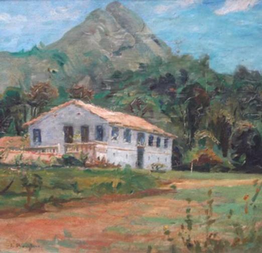 Borghese. Velho Solar Bandeirante aos pés do Pico do Jaraguá - Iconografia Paulista, óleo sobre madeira, med. 42 x 42 cm, assinado c.i.e.