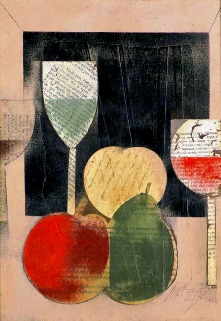 Carlos Scliar,Frutas e taças vinilSobre tela, 37 x 26, 1990