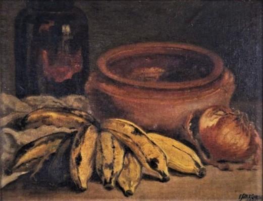 F. SOLER GARCIA (BRASIL - SÉC. XIX-XX). Pote, Bananas e Cebolas sobre a Mesa, óleo s madeira, 27 x 35