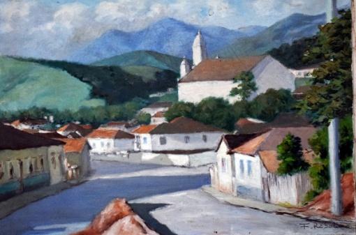 Francisco Rebolo - Praça Lara Dante - São Bento do Sapucaí em 1979 ,óleo sobre tela , medindo 38 x 56 cm