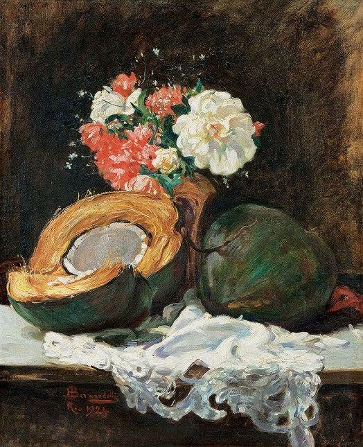 Henrique BERNARDELLI, Henrique,Cocos e Flores sobre a Mesa, 1926, ost, 67 x 55 cm