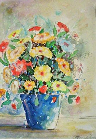 Paulo Calazans (1947)Vaso azul e flores amarelasAquarela54 x 38 cm