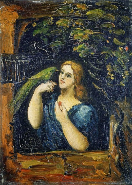 1862-64 Woman with Parrot oil on board 28 x 20 cm Private Collection.jpgPaul Cézanne 1862-64 Woman with Parrot oil on board 28 x 20 cm Private Collection