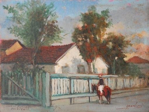 ARNALDO BARBIERI - Casa de Portinari , Brodowski Assinado canto inferior direito, de 1930 Medindo 30,00 x 39,80