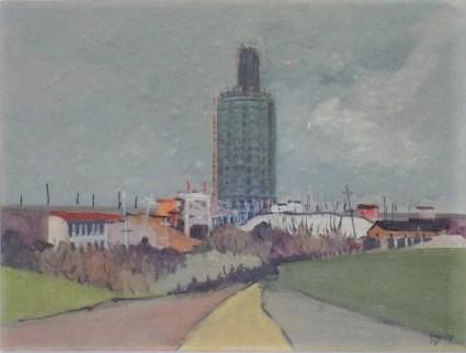 BRITO, ORLANDO (1920-1981). Centro da Barra, Torre da Av. Sernambetiba (série Rio 1974), aquarela, 30 x 40. Assinado e datado (1974)