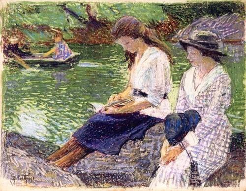 Edward Henry Potthast, Lendo à beira do lago, (EUA, 1857-1927), ost