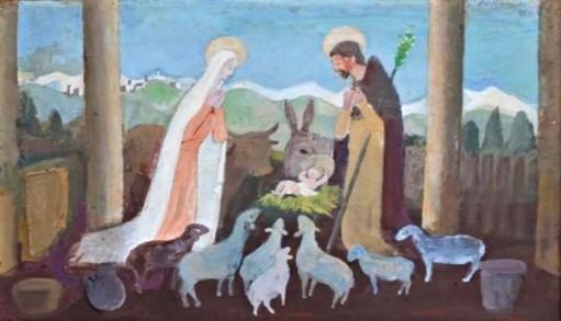 Fúlvio Pennacchi, Natividade de Jesus Cristo, Óleo sobre placa, 20 alt X 30 larg (cm), acsd e verso, Ano 1980