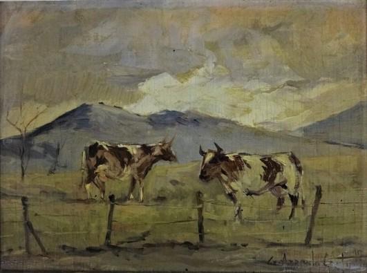 GÉRSON AZEREDO COUTINHO (1900 - 1967) Entardecer no pasto, o.s.m., 15 X 20 cm, assinado