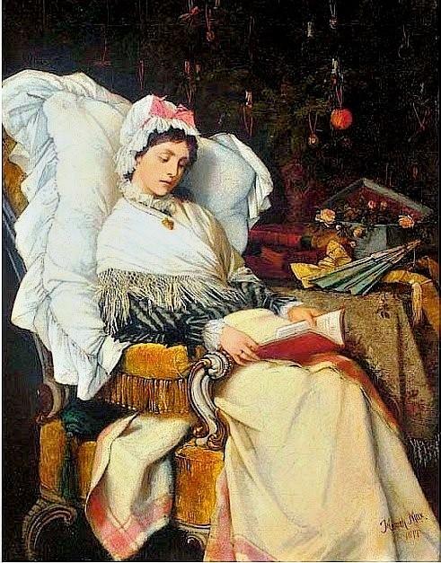 Heinrich Max (Czech artist, 1847-1900) A Christmas Read 1877 (2)