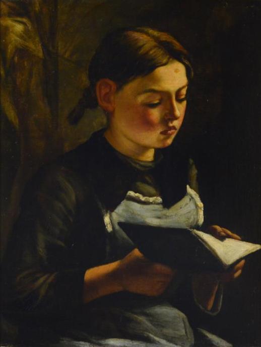 Jozef Karel Frans POSENAER (Belgica, 1876 - 1939), Menina lendo, ost, 61 x 45cm