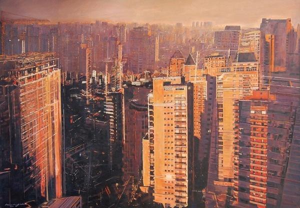 ALESSANDRO FELISBERTO - São Paulo Panorama da Vila Conceição. Série Pluridimensioni. ost. Ass, titulado e datado no verso, 2011. 130 x 202 cm.