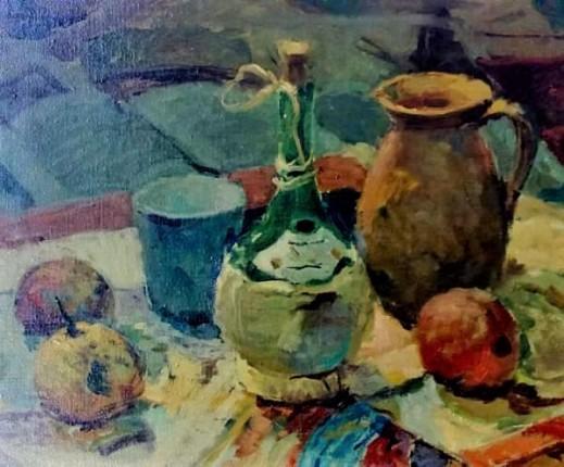 ANGELO SIMEONE ( Itália, 1899 - São Paulo, SP, 1974) Natureza-morta, óleo sobre tela colada em placa,48 cm por 62 cm,