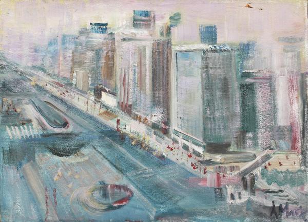 ANTONIO AUGUSTO MARX (1919) - Paisagem Urbana - Av. Paulista, pintura a óleo sobre teal, med. 50 x 70cm