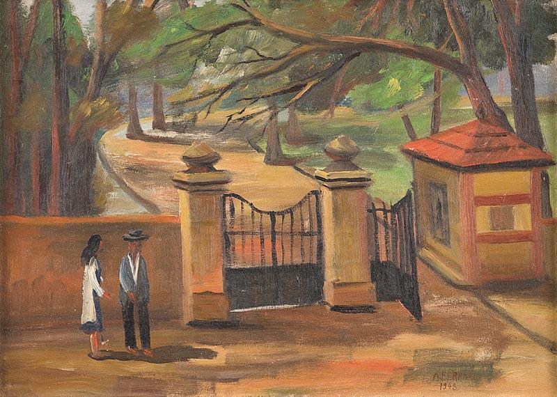 Arnaldo Ferrari,Parque da aclimação,1948,ost. - 30 x 43 cm.