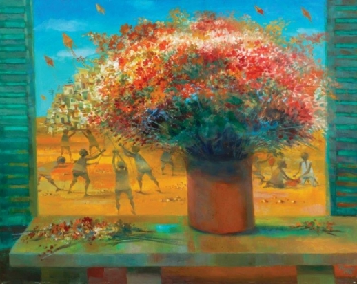 Bianco,Vaso de flor e meninos soltando pipas – ose,1998 - 80 x 100