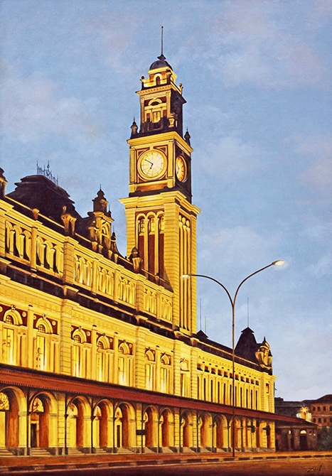 Carlos Eduardo zornoff,(Brasil, 1959) Torre da Estação da Luz, 2014, ost, 100 x 70 cm
