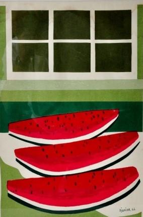 DJANIRAMelancias e Janela serigrafia a cores sobre papel, 50 x 33 cm. Assinada e datada no canto inferior direito, 1966.