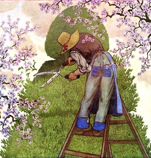 jardim, jardineiro, jardinagem, primavera, Pierre Brissaud, House and Garden 1930-03