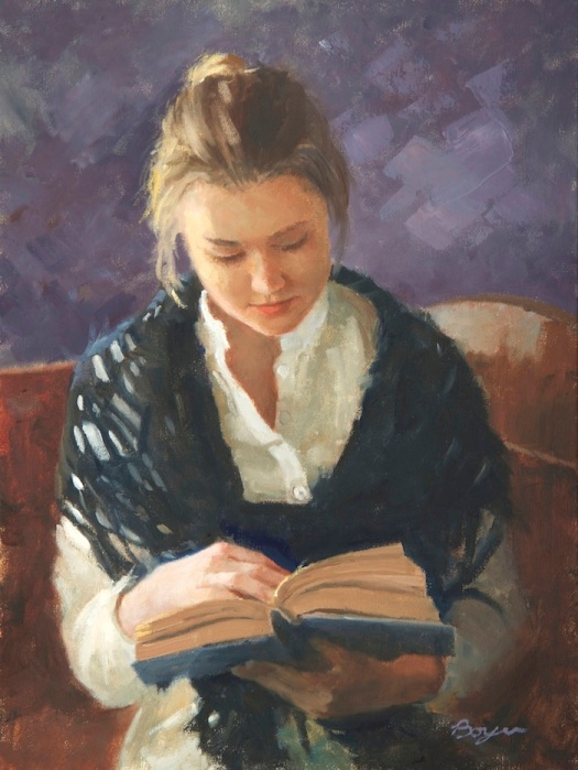 Leisure afternoon A good book Richard Boyer living in Salt Lake City (Utah), USA,Boyer+-+Studies+16x12