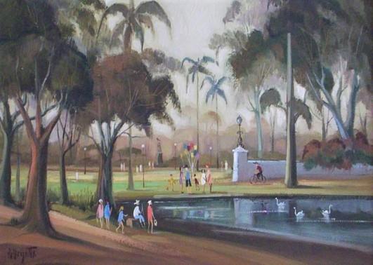 Omar Pellegatta Parque do Ibirapuera Óleo sobre tela 50 x 70 cm.