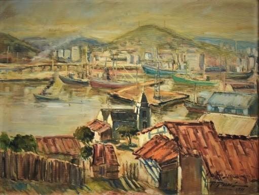 ROBERTO PARAGÓ (1941-1996). Vista do Cais do Porto Tomada do Morro da Penha - Niterói, óleo stela, 46 X 61. Assinado e datado (1981) no c.i.d. e no verso.